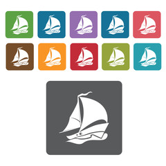 Sail boat icons set. Rectangle colourful 12 buttons. Vector illu