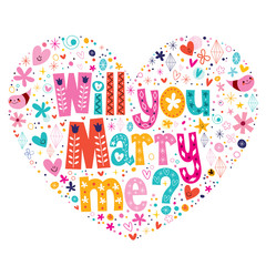 Will you Marry me heart shaped typography lettering design