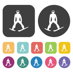 Winter skiing icons set. Round and rectangle colourful 12 button