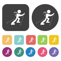 Skier climbinga icons set. Round and rectangle colourful 12 butt
