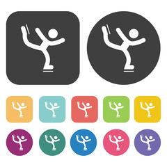 Figure skating icons set. Round and rectangle colourful 12 butto