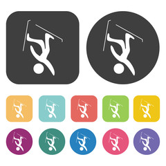 Mountain skiers icons set. Round and rectangle colourful 12 butt
