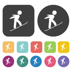 Flying skiing icons set. Round and rectangle colourful 12 button