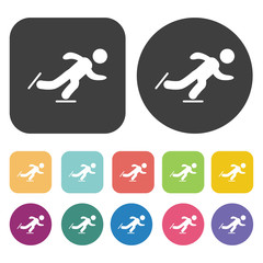 Man ice skating icons set. Round and rectangle colourful 12 butt