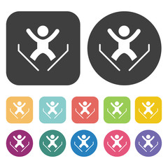 Skier skiing jumping icons set. Round and rectangle colourful 12
