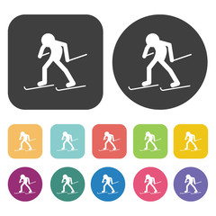Stylized freeride skier icons set. Round and rectangle colourful