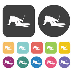 Skier in mountains icons set. Round and rectangle colourful 12 b
