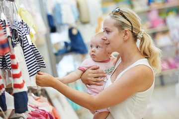 woman with baby in shop
