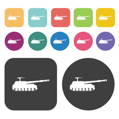 The military tank icons set. Round and rectangle colourful 12 bu