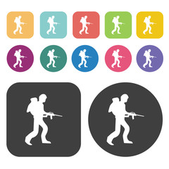 Soldier vector icons set. Round and rectangle colourful 12 butto