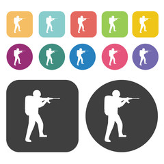 Soldier aiming icons set. Round and rectangle colourful 12 butto