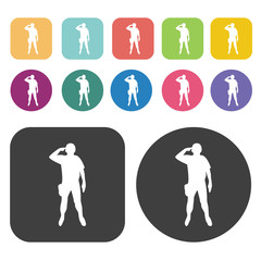 Soldier salute icons set. Round and rectangle colourful 12 butto