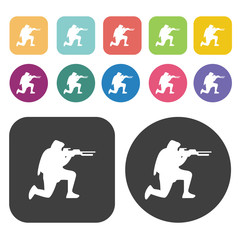 Soldier on combat positions icons set. Round and rectangle colou