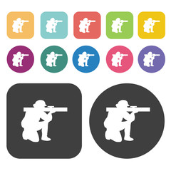 Soldier with missile icons set. Round and rectangle colourful 12