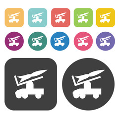 Jeep missile carrier icons set. Round and rectangle colourful 12