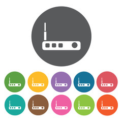 Wifi router icons set. Round colourful 12 buttons. Vector illust