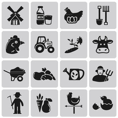 Vector Agriculture and Farming black icon set1. Illustration eps