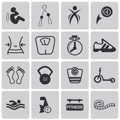Health and Fitness black icons set1. Vector Illustration eps10