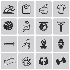 Health and Fitness black icons set2. Vector Illustration eps10