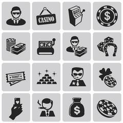 Casino Gambling black icons set2. Vector Illustration eps10