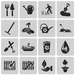 Gardening black icons set2. Vector Illustration eps10