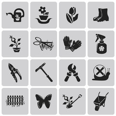 Gardening black icons set1. Vector Illustration eps10