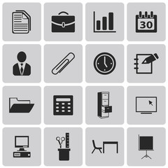 Office and organization black icons set1. Vector Illustration ep