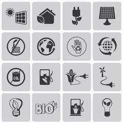 Green, Ecology and environment black icon set1. Vector Illustrat