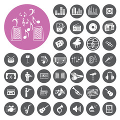 Music Icons set. Illustration eps10