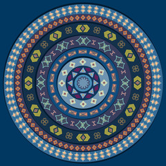 Abstract circle with decorative elements in blue color