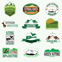 Set of vintage outdoor adventure and hunting Badge Label. Illust