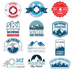 Set of skiing and mountaineering badges label.  Illustration eps