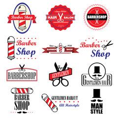Set of vintage barber shop labels, badges and design. Illustrati