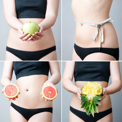 Overweight of the women with  fruit