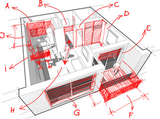 Apartment diagram with hand drawn architect`s notes