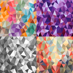 Set of four bright backgrounds of triangles