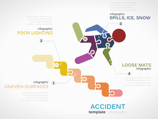 Infographic template with accident symbol