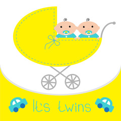 Baby carriage. It's twins boys. Shower card. Flat design.