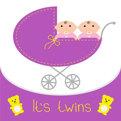 Baby carriage. It's twins girls. Shower card. Flat design.