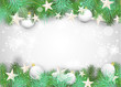 Christmas background with white ornaments and branches
