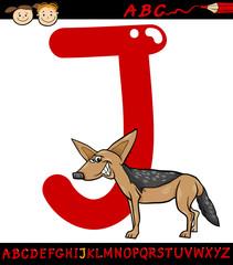letter j for jackal cartoon illustration
