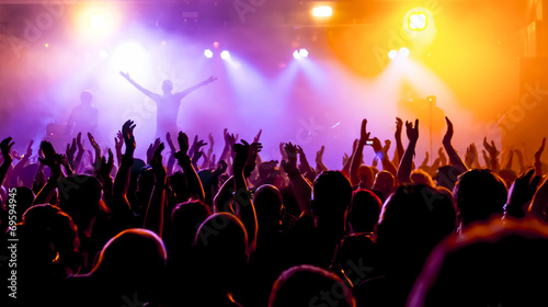 Jubelnde Konzertbesucher auf Rock-Konzert - 69594945