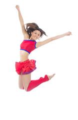 modern cheerleader dancer teenage girl jumping dancing