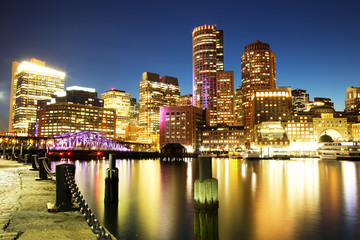 Boston Skyline with Financial District and Boston Harbor