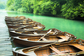 Wooden boats in Plitvice Lakes