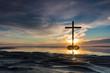 Obrazy na płótnie, fototapety, zdjęcia, fotoobrazy drukowane : Low Tide Cross Sunset