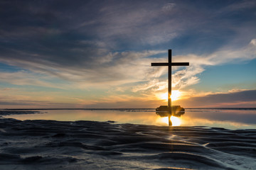 Low Tide Cross Sunset