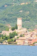 City of Malcesine on Garda lake in Italy
