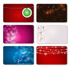 Set of Cards with Christmas BALLS, Stars and Snowflakes, Vector