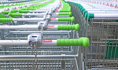 Rows of a plurality of trolleys